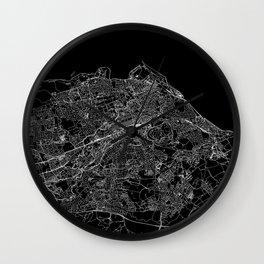 Edinburgh Black Map Wall Clock