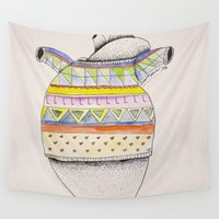 sweater Wall Tapestries featuring Heart-sweater by Adele Manuti