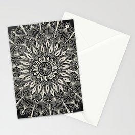 Vintage Mandala on black Stationery Cards