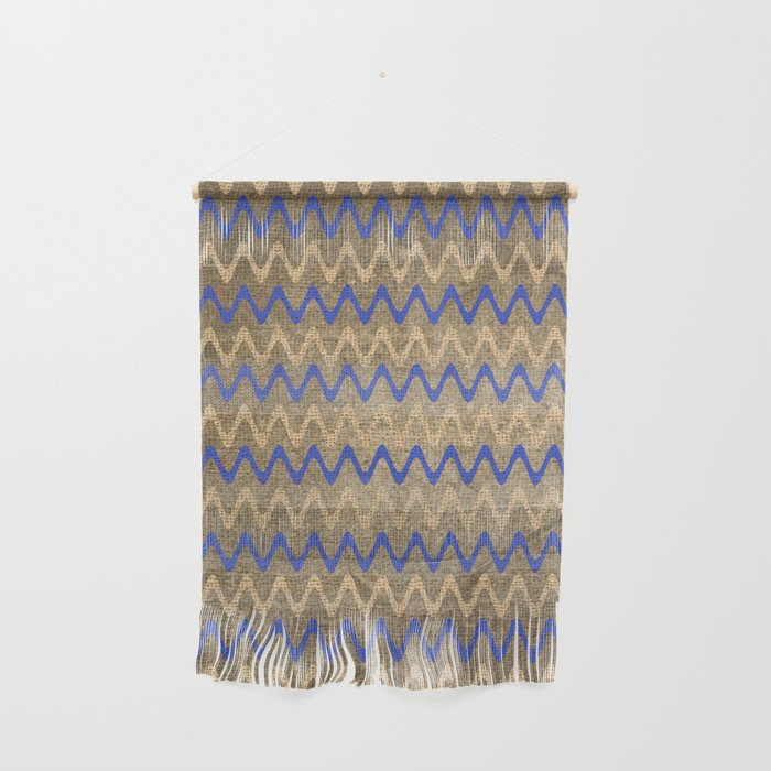 Blue and Tan Zigzag Stripes on Grungy Brown Burlap Graphic Design Wall Hanging