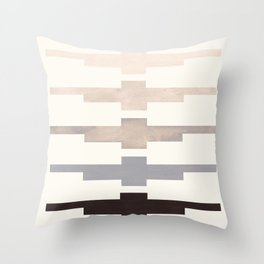 Mid Century Minimalist Ancient Aztec Inca Geometric Pattern Watercolor Grey Colorful Gouache Paintin Throw Pillow