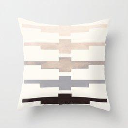 Mid Century Minimalist Ancient Aztec Inca Geometric Pattern Watercolor Grey Colorful Gouache Paintin Throw Pillow