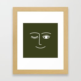 Wink (Olive Green) Framed Art Print