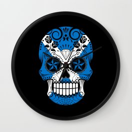 Sugar Skull with Roses and Flag of Scotland Wall Clock