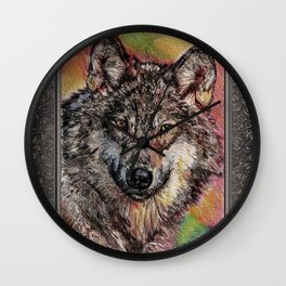 Portrait of a Gray Wolf Wall Clock