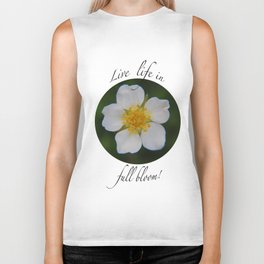 White Strawberry Flower Biker Tank