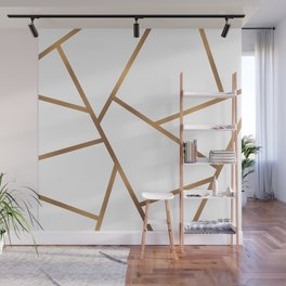 White and Gold Fragments - Geometric Design Wall Mural