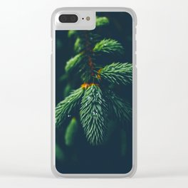 Green Pine Tree Close Up Winter Christmas Clear iPhone Case