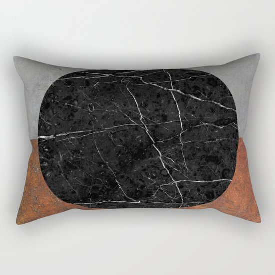 Abstract - Marble, Concrete, Rusted Iron Rectangular Pillow