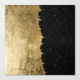 Faux Gold & Black Starry Night Brushstrokes Canvas Print