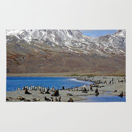 Fur Seals, King Penguins and Snowy Mountains Rug