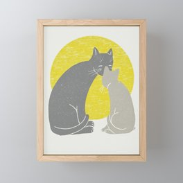 Momma loves kitten | yellow palette  Framed Mini Art Print