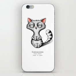 yoga cat sukhasana iPhone Skin