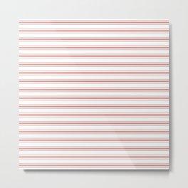 Large Camellia Pink and White Mattress Ticking Stripes Metal Print