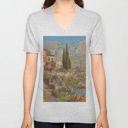 Lakeside View of Riva and Flower Gardens on Lake Garda, Italy landscape painting Unisex V-Neck