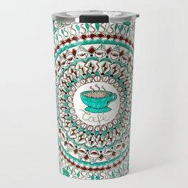 Cafe Expresso Teal, Brown, and White Mandala Travel Mug