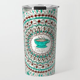 Cafe Expresso Teal, Brown, and White Mandala Travel Mug