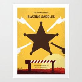 No1014 My Blazing Saddles minimal movie poster Art Print