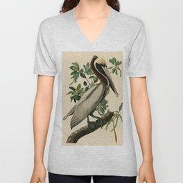 Brown Pelican, Birds of America by John James Audubon Unisex V-Neck