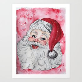 Vintage Santa Face Christmas Watercolor Art Print