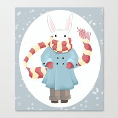 Bunny Brother Out On A Winter Day Canvas Print