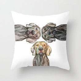 Triple Hunting Dogs Throw Pillow