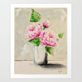 Finger Painted Peonies Art Print