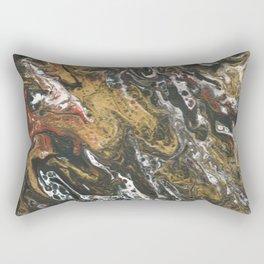 Golden Seas, abstract poured acrylic Rectangular Pillow