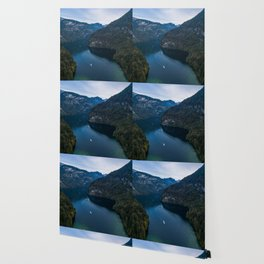 königssee waterfall alps bayern forrest drone aerial shot nature wanderlust boat mountains panorama Wallpaper