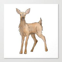 Cute Kawaii Brown Deer Watercolor Print Canvas Print