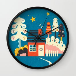 Festive Winter Hut Wall Clock