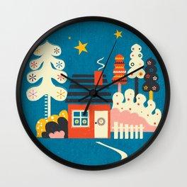 Festive Winter Hut Wall Clock