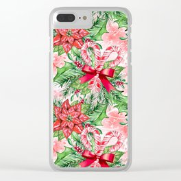 Poinsettia & Candy cane Clear iPhone Case