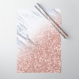 Blush Pink Sparkles on White and Gray Marble V Wrapping Paper