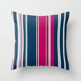 Navy, Pink and White Stripe Watercolor Throw Pillow