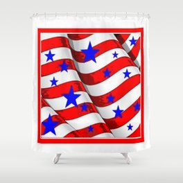 RED PATRIOTIC JULY 4TH BLUE STARS AMERICANA ART Shower Curtain