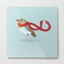 Robin with a cozy scarf Metal Print