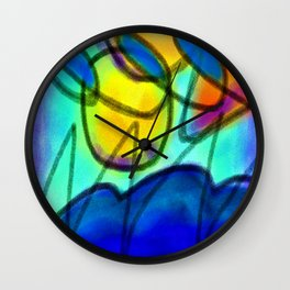 Colorful Abstract Digital Painting by Jackie Ludtke Wall Clock