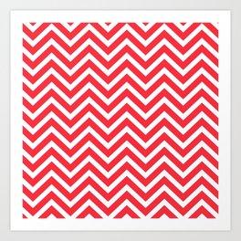 Chevron Pattern - Red and White Art Print