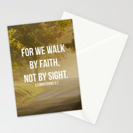 For We Walk By Faith, Not By Sight - 2 Corinthians 5:7 - Bible Quote - Inspirational Quote Stationery Cards