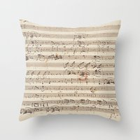 mozart Throw Pillows featuring Mozart by Le petit Archiviste