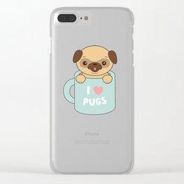 Kawaii Cute I Love Pugs Clear iPhone Case