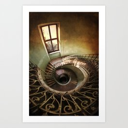 Spiral staircaise with a window Art Print