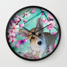 cuty cute corgi puppy of the queen of england Elisabeth, spring blue pink flower power blossom Wall Clock