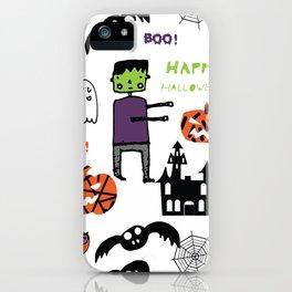 Cute Frankenstein and friends white #halloween iPhone Case