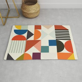 mid century retro shapes geometric Rug