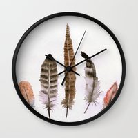 feathers Wall Clocks featuring Feathers by emegi