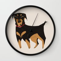 rottweiler Wall Clocks featuring Rottweiler by Reimena Ashel Yee