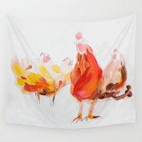 chicken Wall Tapestries featuring Chicken by Ingo H. Klett