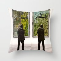 frames Throw Pillows featuring Frames by Monster Rally / Ted Feighan